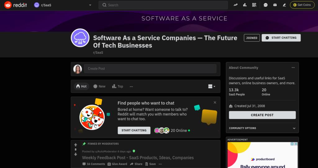 SaaS communities on Reddit